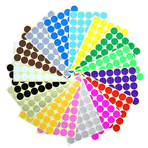 BronaGrand 640 Pieces 1 Inch Round Dot Stickers Color Coding Labels, 16 Different Colors Dot Labels -