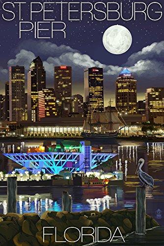 St. Petersburg, Florida - Night Skyline and Pier (12x18 Art Print, Wall Decor Travel Poster)