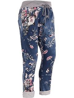 913d52257d4 LavishFashionTown New Italian Ladies Floral Mix Elastic Waist Cotton Summer  Trouser Jogger…