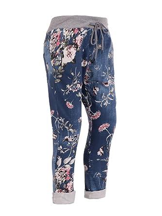 934d0dae84b New Italian Women Ladies Floral Elastic Waist Trouser Jogger Legging One  Size Fits 10 12 14