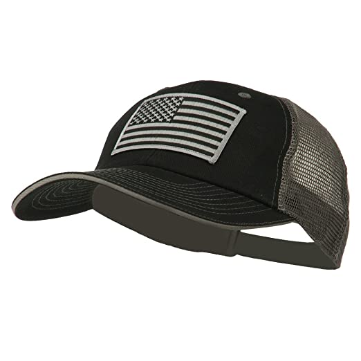E4hats Grey American Flag Patched Big Size Washed Mesh Cap - Black Grey OSFM bd769ae4152