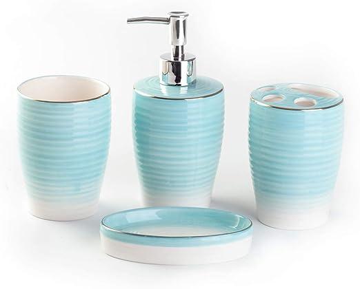 Juego de 4 accesorios de ba/ño: vaso dispensador de jab/ón y jabonera accesorios de ba/ño decorativos vaso para cepillo de dientes