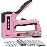 WORKPRO Pink Staple Gun, 6-in-1 Manual Brad Nailer with 4000-Pieces Staples for Fixing Material, Carpentry, Upholstery, Furni