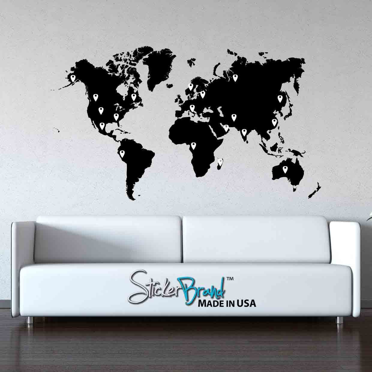 amazoncom stickerbrand vinyl wall art world map of earth with pin drops wall decal sticker black map w red black white grey pins 40 x 70
