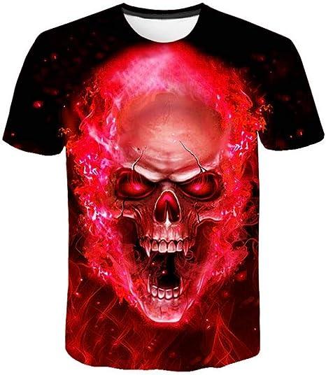RCFRGV Camiseta 3D Cráneo Camiseta Hombre Camiseta Rojo Llama Gráfico 3D Camiseta Punk Rock Ropa Divertida Hip Hop Ropa para Hombre Verano: Amazon.es: Deportes y aire libre