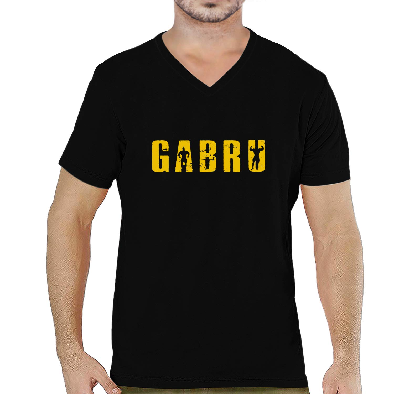 6a8e331f14 Pooplu Mens Gabru Text Cotton Printed V Neck Half Sleeves Multicolour t. Shirt. Punjabi, Punjab, JAAT, JAT, Haryana Tshirt,Funny Tshirt,Quotes:  Amazon.in: ...