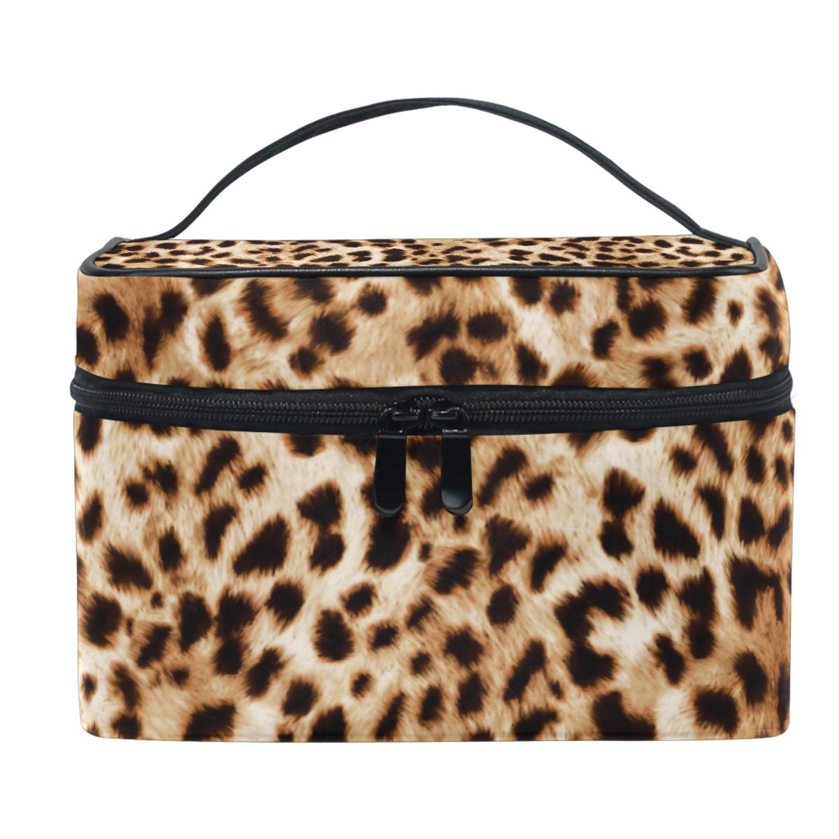 Vintage Leopard pattern Makeup Bag Cosmetic Bag Toiletry Travel Brush Bag Train Case for Women Funny Animal Skin Zip Carrying Portable Multifunctional Organizer Storage Pouch Bags Box