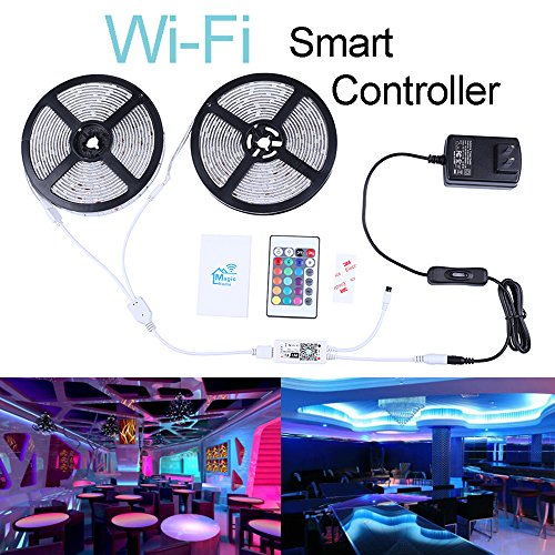 Miheal WiFi Wireless Smart Phone Controlled Led Strip Light Kit with DC12V UL Listed Power Supply Waterproof SMD 5050 32.8Ft(10M) 300leds RGB Music LED Light Strip Compatible with Android iOS Alexa ()