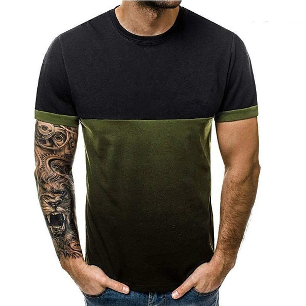 Winsummer Tops Men Gradient Color Short-Sleeve Beefy Muscle Basic Solid Blouse Tee Shirt Green