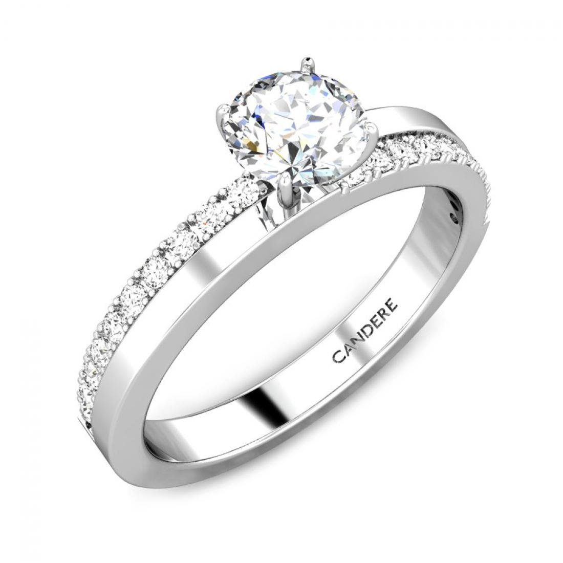 1/2 ctw (0.54 Carat) Round Diamond 925 Sterling Silver Solitaire Engagement Ring