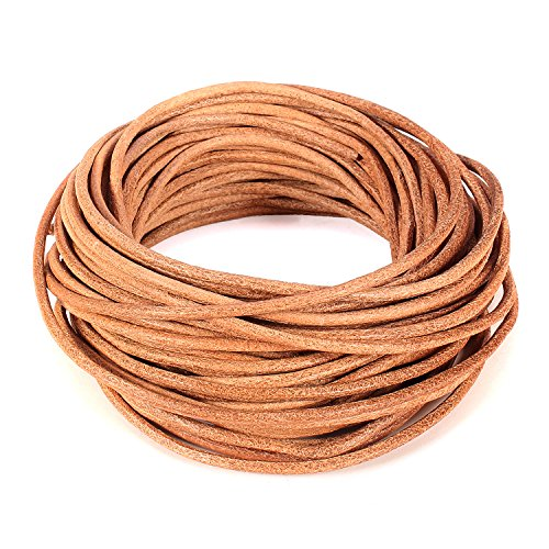 BEADNOVA 2.0mm Genuine Round Leather Cord Leather Strips For Jewelry Making Bracelet Necklace Beading, 10 Meters/11 Yards, Natural Color (Leather Natural Cord)