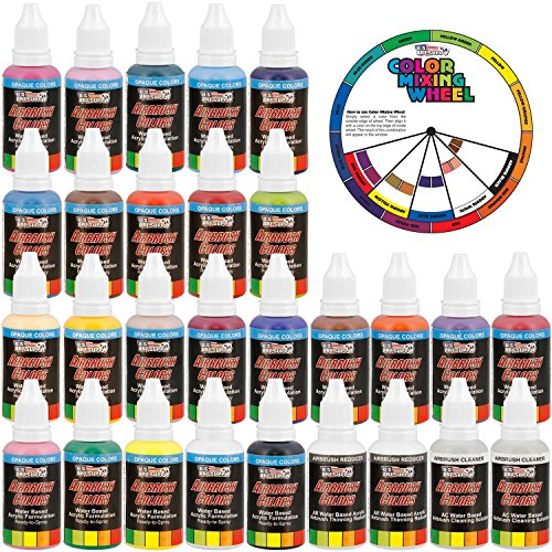 U.S. Art Supply 24 Color Acrylic Airbrush
