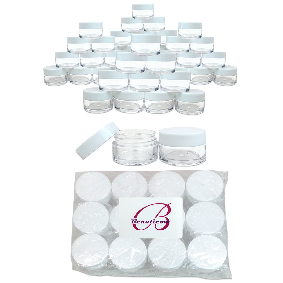 Beauticom 120 Pieces 20G/20ML Round Clear Jars with WHITE Lids for Lotion, Creams, Toners, Lip Balms, Makeup Samples - BPA Free by Beauticom