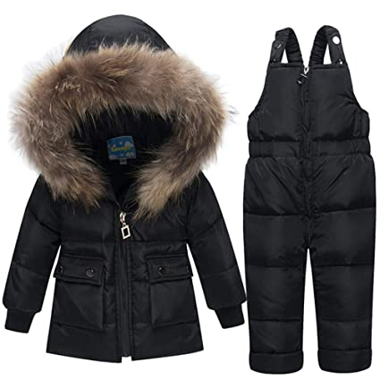 4cd30206fa4e AFCITY Kids Winter Snowsuit Winter Warm Two Piece Puffer Down Jacket ...