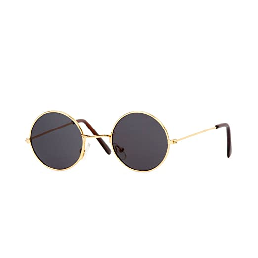 8dc83a35ef Amazon.com  Circular Gold Frame Black Lens Sunglasses  Clothing