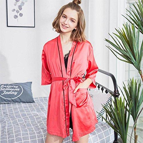 stampata pajama Accappatoio SUxian Colore Black in Red da manica donna estiva lettera accappatoio lunga Dimensione L Rw0wvq