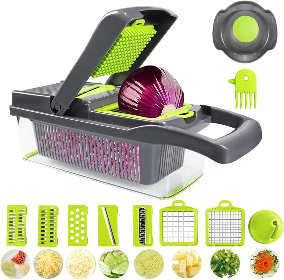 LIDIWEE Mandoline Multifonctions 10 en 1 Decoupe Legumes Trancheuse /à Spirale Hachoir /à Nourriture pour Oignons Pommes Fruits et V/ég/étales Gris