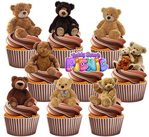 Price comparison product image AKGifts Teddy Bears Picnic Cake Decorations Party Pack - Edible Stand-up Cup Cake Toppers (Pack of 36) (7 - 10 BUSINESS DAYS DELIVERY FROM UK)