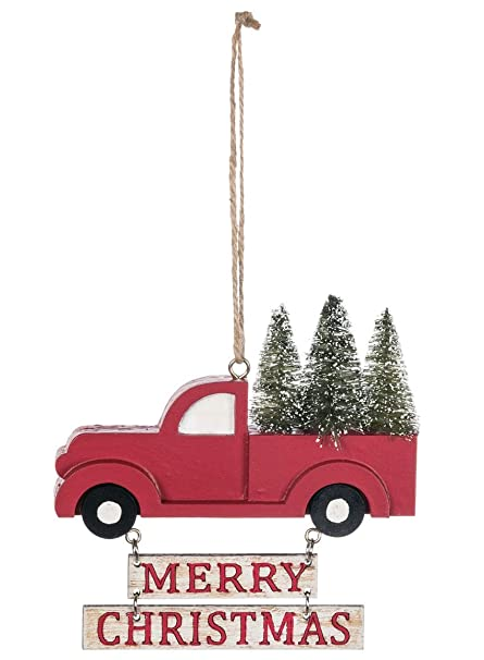 Sullivans Merry Christmas Red Pickup Truck 4 5 X 3 5 Inch Wood Christmas Ornament