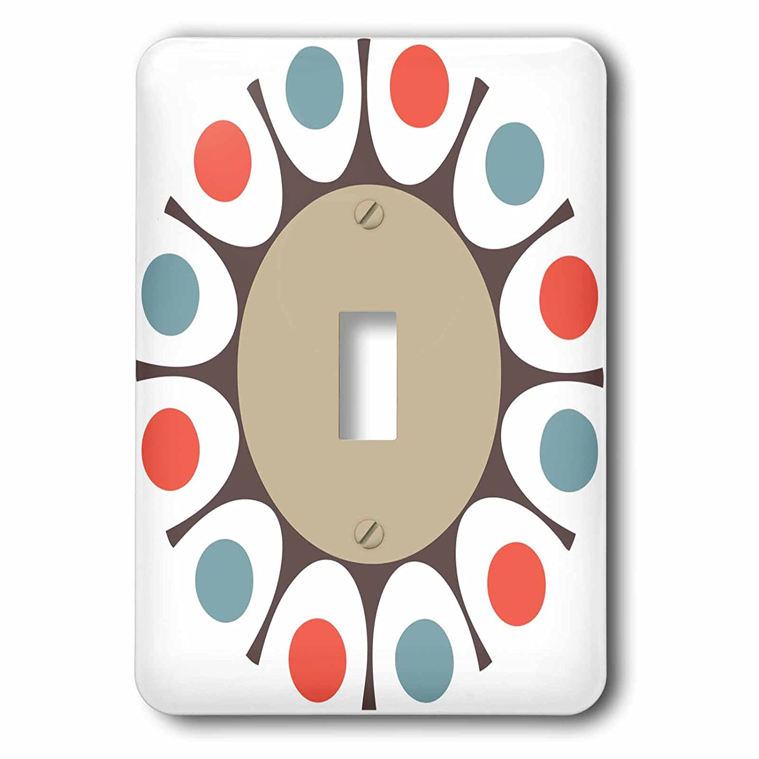 3dRose lsp_213847_1'Gray, Red, and Blue Round Retro Design' Single Toggle Switch Multicolor