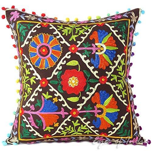 Eyes of India Azul, Marrón Gris, Verde, Rosa, Lila, Naranja, Blanco Bordado Funda De Almohadón Sofá Cojín Sofá Colores Decorativos Cobertor Bohemio India Boho Asiento