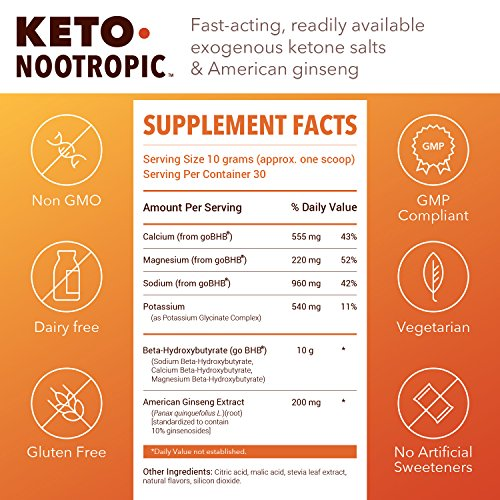 Designs for Health - Keto-Nootropic Powder - Exogenous Ketone Energy & Cognitive Support, 540g by designs for health (Image #5)