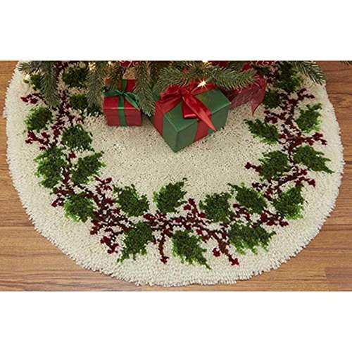 Craftways Holly Wreath Tree Skirt Latch Hook Kit