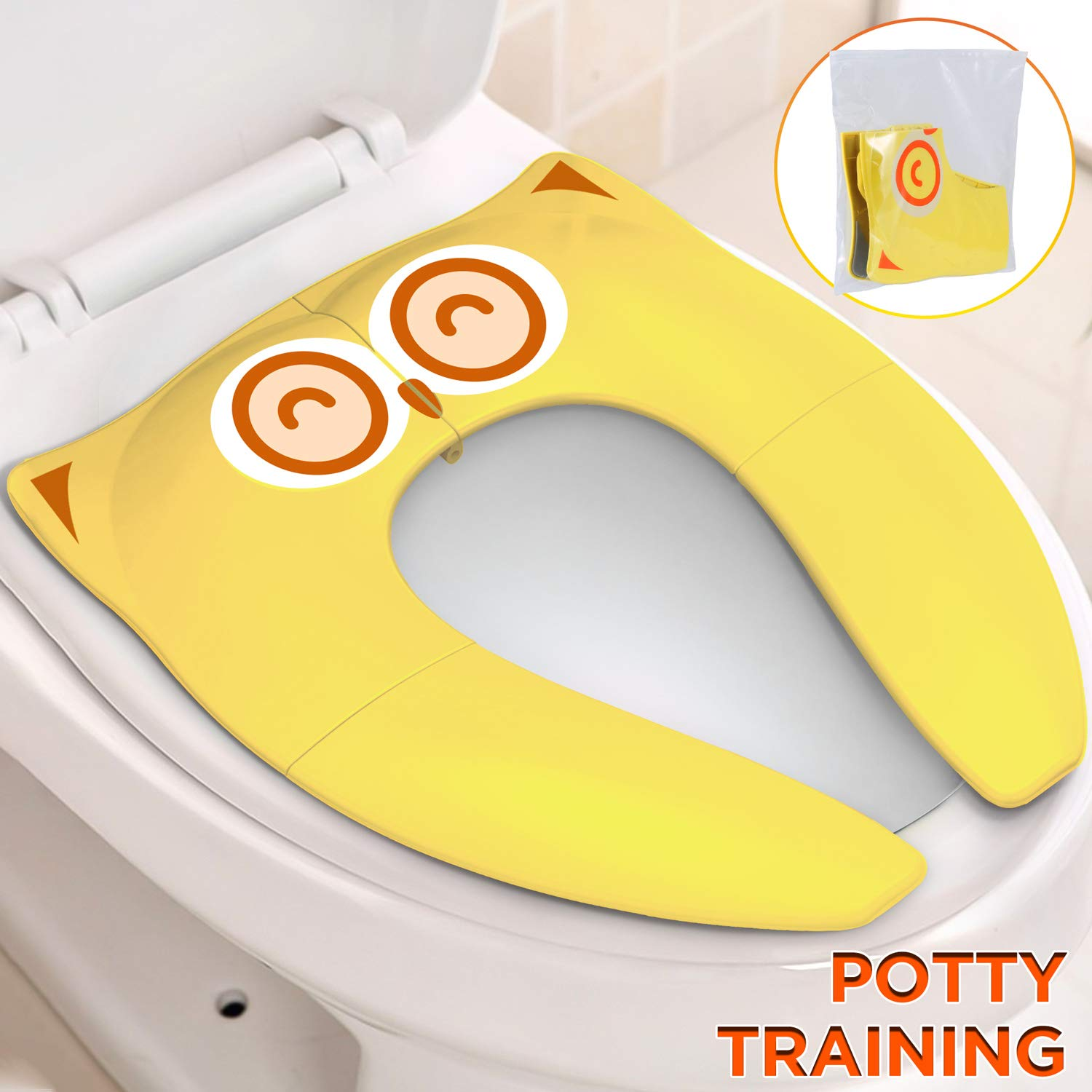 Stupendous Gimars Upgrade Folding Large Non Slip Silicone Pads Travel Portable Reusable Toilet Potty Training Seat Covers Liners With Carry Bag For Babies Creativecarmelina Interior Chair Design Creativecarmelinacom