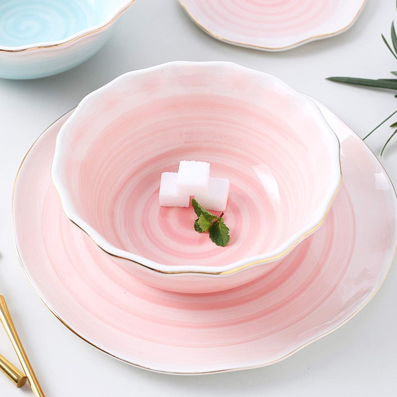 Assiette /À Poisson en Saladier Service De Table De Phnom Penh De Forme Irr/éguli/ère XCXDX 16 Pi/èces De Couverts en C/éramique Rose