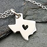 """Heart of Texas State Charm Necklace - 925 Sterling Silver, 18"""""""