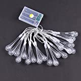 Ouniman Water Drop Shape String Light, LED Light String Battery Operated, 20 Pcs LED Light for Christmas Xmas Easter Party Holiday Home Window Curtain Bathroom