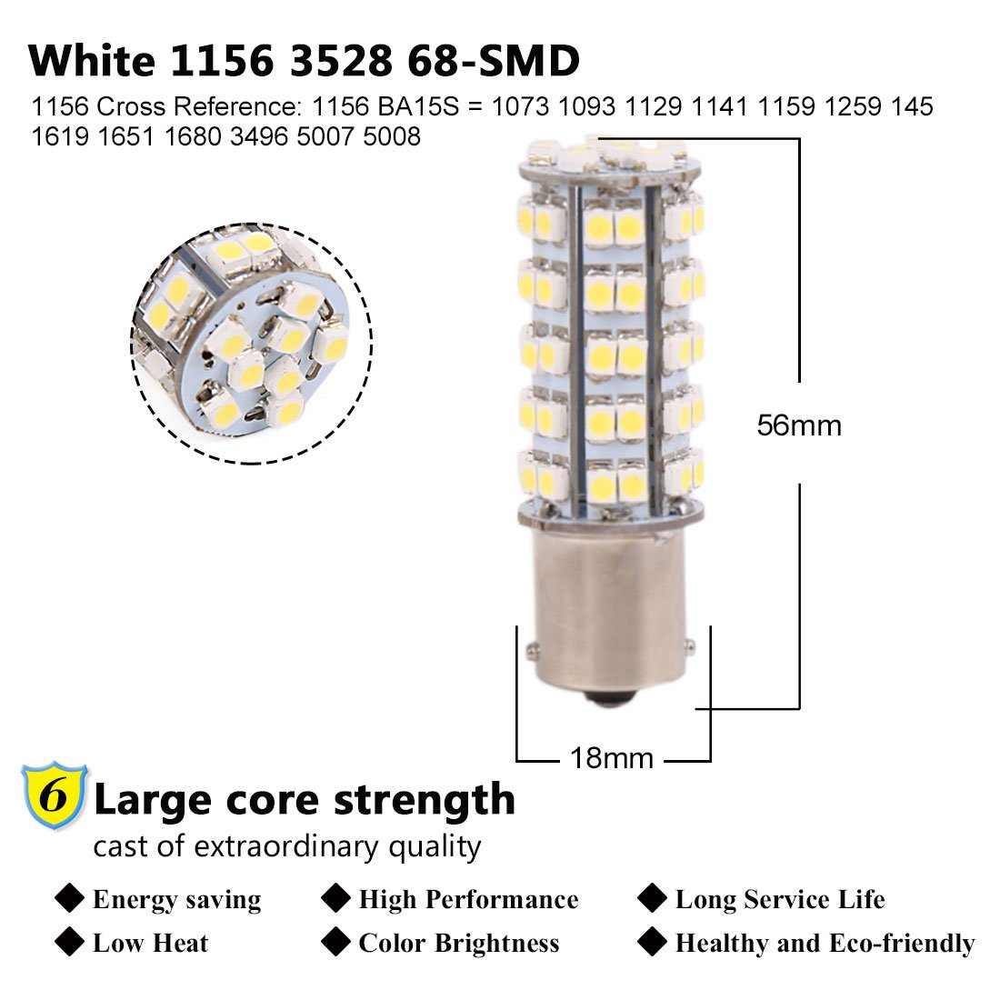 2pcs Ba15s 1156 68 3528 Smd Led White Car Vehicle Turn
