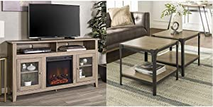 """Walker Edison Furniture Company Rustic Wood and Glass TV Stand Cabinet, 32"""", Driftwood & Rustic Farmhouse Square Wood and Metal Frame Side End Accent Table 2 Tier Storage Shelf, Set of 2, Driftwood"""