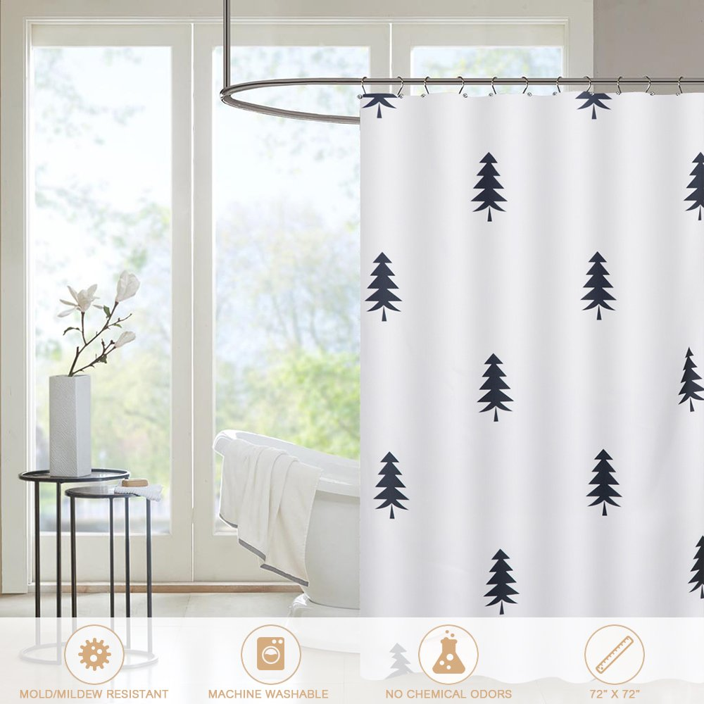 Amazon.com: htovila Shower Curtain, 100% Polyester Thick Plain Weave ...