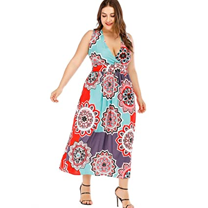 Amazon.com: Zlolia Women\'s Plus Size Printed A-Line Dresses ...