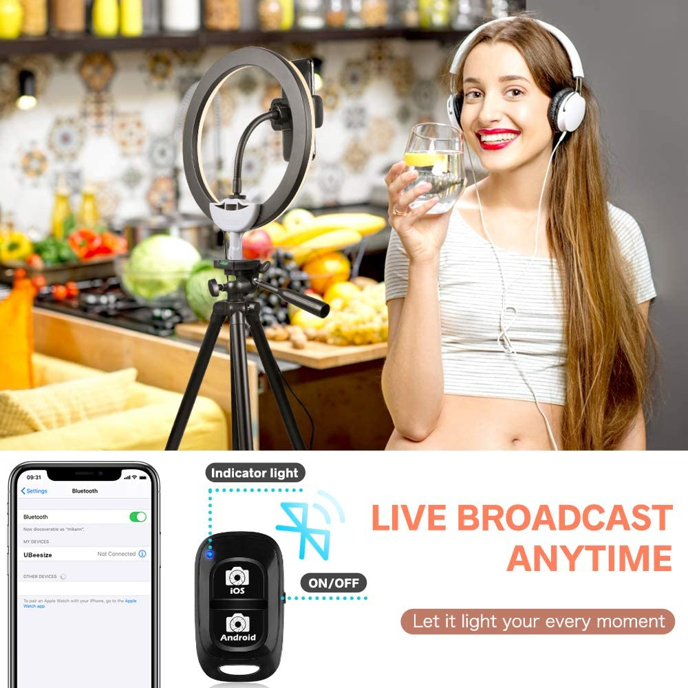 """10/"""" Selfie Ring Light with Tripod Stand /& Phone Holder for Makeup and YouTube Live Streaming Torjim Dimmable LED Camera Beauty Ringlight Lamp with 3 Light Modes /& 11 Brightness Levels"""