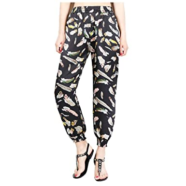 Sylar Pantalones Mujer Cintura Alta Moda Patrón De Plumas Suelto ...