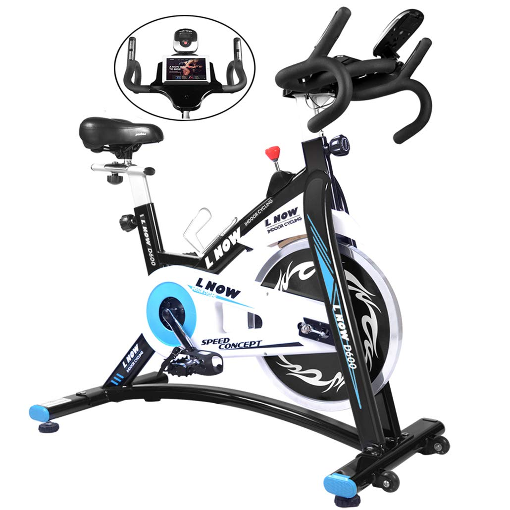 L NOW Indoor Exercise Bike Indoor Cycling Stationary Bike, Belt Drive with Heart Rate, Adjustable Seat and Handlebar, Tablet Holder, Stable Quiet and Smooth for Home Cardio Workout(D600-1) by L NOW