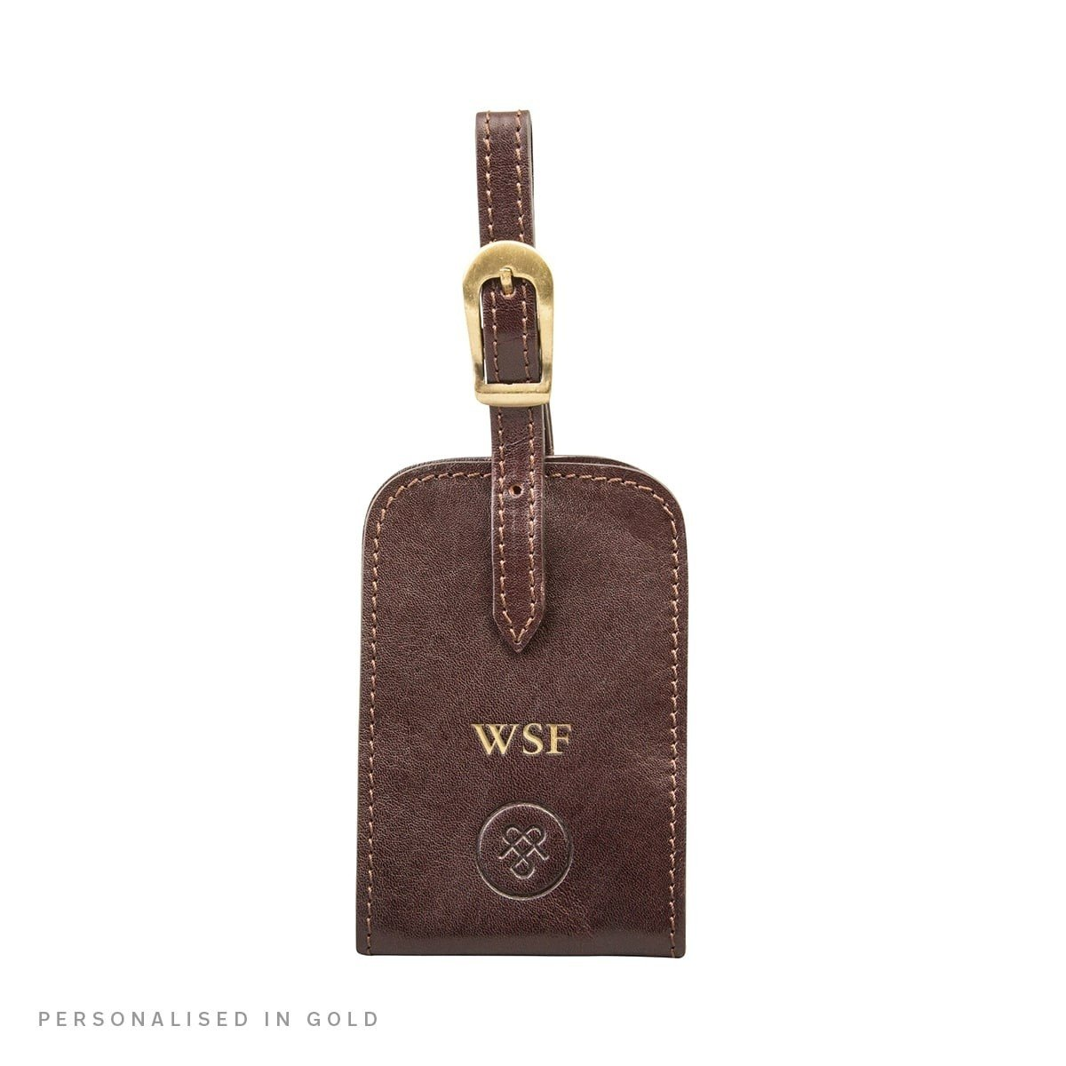 Maxwell Scott Personalized Luxury Brown Leather Bag Tag (The Ledro)