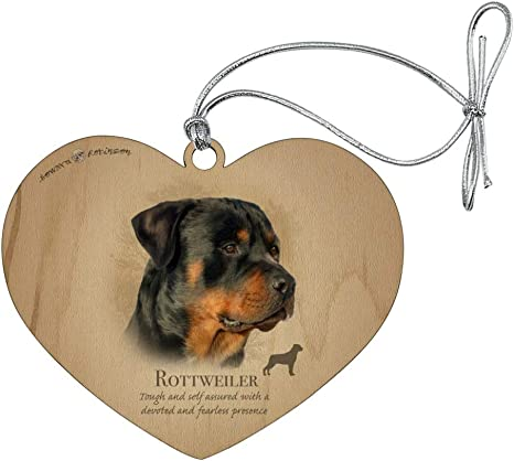 Graphics More Rottweiler Rottie Dog Breed Heart Love Wood Christmas Tree Holiday Ornament Home Kitchen