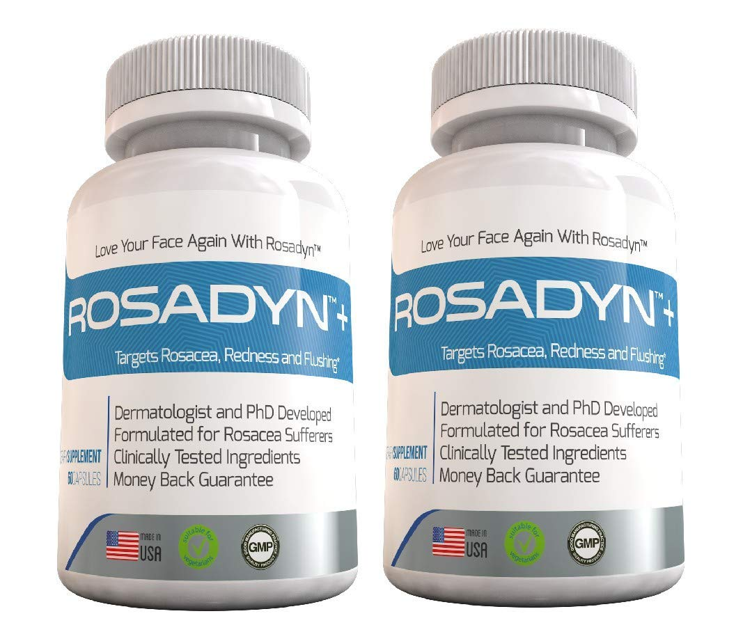 Rosacea Treatment Supplement by Rosadyn | Relief for Face & Nose Redness, Acne and Red Eyes | Works Internally Unlike a Cleanser Wash, Moisturizer, Cream or Other Skin Care Products| Natural (2)