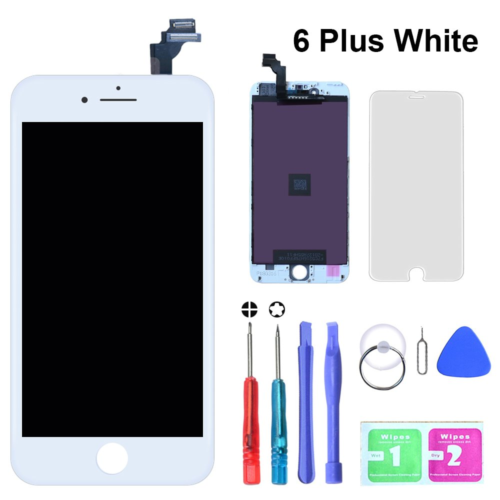 SZRSTH Compatible with iPhone 6 Plus Screen Replacement White 5.5 Inch LCD Display Screen Digitizer Frame Full Assembly Include Full Free Repair Tools Kit+Instruction+Screen Protector