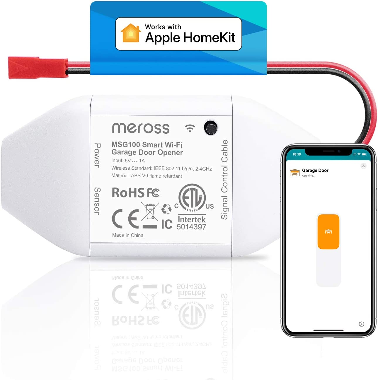 meross Smart Garage Door Opener Remote, Compatible with Apple HomeKit, Amazon Alexa, Google Assistant, SmartThings, Multiple Notification Modes, No Hub Needed