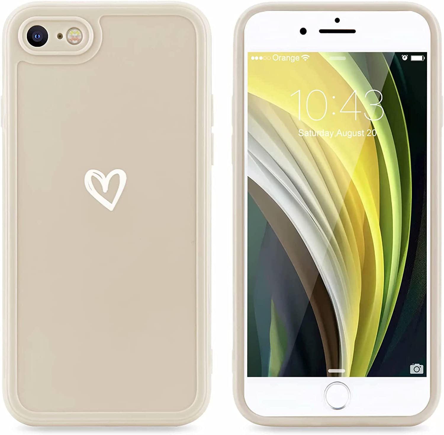 LAPOPNUT Compatible with iPhone 7 Plus iPhone 8 Plus Case for Women Girls Cute Shockproof Protective Soft TPU Phone Case with Heart Pattern Design Back Bumper Slim Cover Cases iPhone 7 Plus White