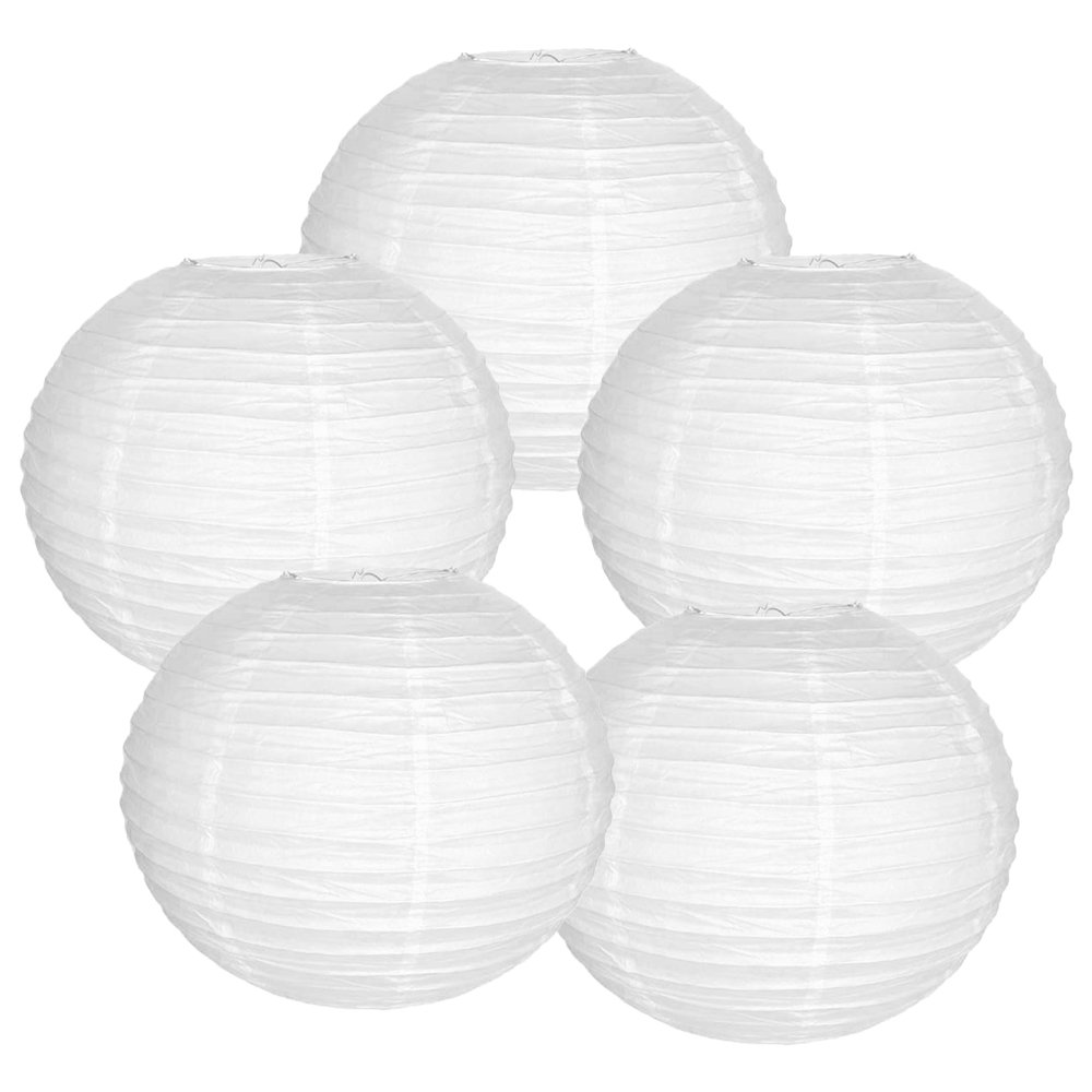 Just Artifacts 12'' White Paper Lanterns (Set of 5) - Click for more Chinese/Japanese Paper Lantern Colors & Sizes!