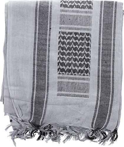 100% Cotton Shemagh Tactical Desert Keffiyeh Scarf (Grey & Black)]()