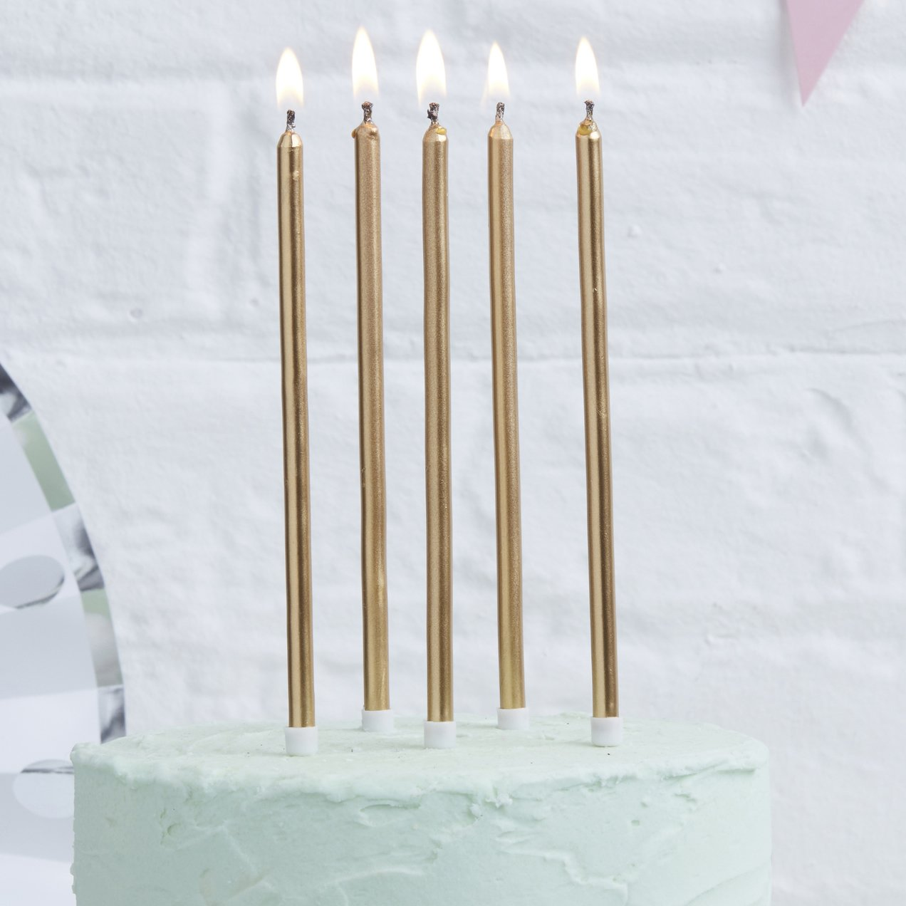 Ginger Ray Gold Metallic Tall Birthday Cake Designer Candles 24 Pack Pick and Mix