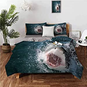 """Anyangeight Comforter Bedding Cover, Shark Scary Open Mouth Teeth 3 Piece Bedding Set (1 Duvet Cover,2 Pillow Shams) 100% Washed Microfiber - Twin 68""""x90"""""""