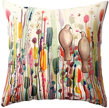 Rusaly Funda Cojin 45x45 Algodón Lino Multicolor, Gorjeo de Pájaros y Fragancia de Flores, Almohada Caso Decorativo Cojines Sofá Silla (B): Amazon.es: Hogar