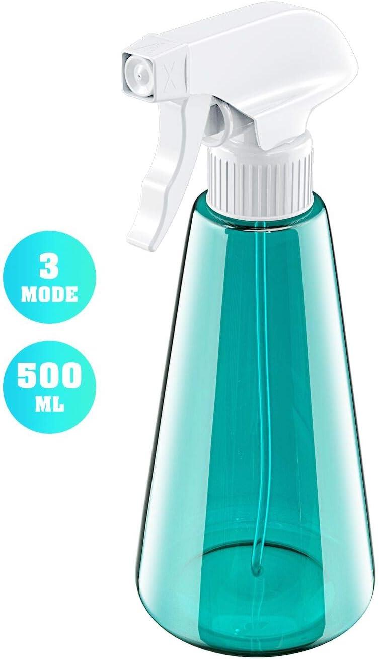 Babacom Botella de Spray Vacías Plástico (1 PCS), Pulverizador Agua de Gatillo con 3 Modos (Spray & Chorro & Apagado), Bote Spray Pulverizador para Lejía, Limpieza, Jardinería y Cocina (500ML)